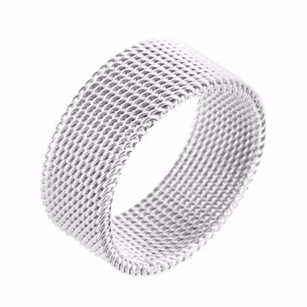 Mens 14k White Gold Finish Stainless Steel Mesh Style Grooms Ring Pinky Band