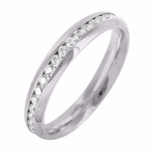 Unisex Stainless Steel 14k White Gold Finish Channel Set Eternity Style Ring