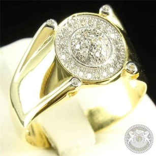 Flawless Mens Golden Silver 925 Sleek Round Cut Pronged Lab Diamond Pinky Ring