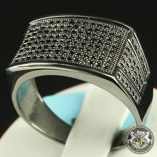 Top Seller Mens Real14k Black Gold On Sterling Silver Cz Square Flat Ring Band