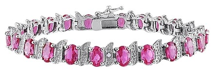 Other Sterling Silver Pink Sapphire Accent Diamond Bangle Bracelet 13.95 Ct H-i I3 7