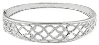 Other Sterling Silver Diamond Geometric Criss Cross Bangle Bracelet 0.1 Ct G-h I3 7