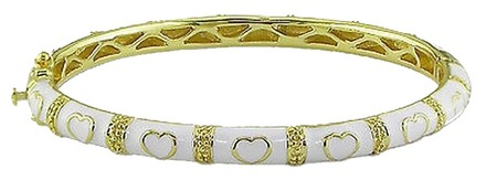 Other Sterling Silver White With Heart Love Enamel Adult Bangle Bracelet 7
