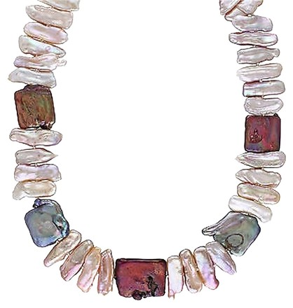 Other Silver 17-18 Mm Mixed Freshwater Pearl Irregular Shaped Necklace Clasp 18