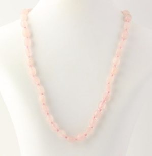 Beaded Necklace - Pink Rose Quartz Stone Beads Sterling Silver Clasp -