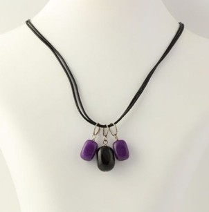 Beaded Necklace - Purple Amethyst Dangles Black Cord Sterling Silver Clasp