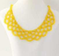 Beaded Necklace - Woven Design Yellow Chalcedony Beads Sterling Silver Clasp