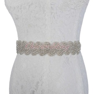 Beaded Sash White Ribbon