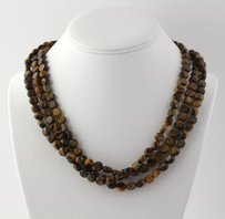 Beaded Tigers Eye Necklace 20-21- Genuine Womens Multi-strand Toggle
