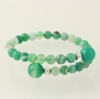 Other Beaded Wrap Bracelet - Sterling Silver Blue Green Agate Clear Quartz Beads