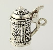 Beer Stein Charm - Sterling Silver Three-dimensional Opens