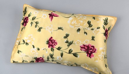"Other Beige Silk Pillowcase (100% Silk) Ivory Red Green Color With Butterfly And Roses Print Standard Size: 19"" X 30"" (48cm X 76cm) Envelope Style"