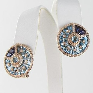 Bellarri Circle Of Love Earrings 0.68cts Diamond Iolite Topaz 18k Yg