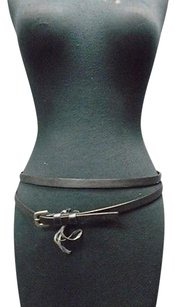 Boutique Lot Of Two Black Skinny Leather Belts Silver Hardware Xss P B3496