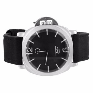 Black Dial Watch Silver Tone Techno Pave Analog Leather Band Water Resistant