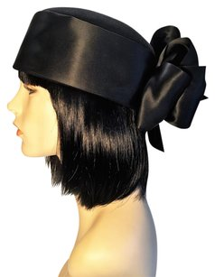 Black Velvet Felt and Satin Pillbox [ HeavenlyHats ]