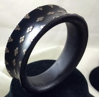 Black Wood And Circle Sterling Silver Cuff Bracelet Handmade 12