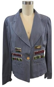 Other Kappaespada Gray Patch Embellished Cotton Linen Blue Jacket