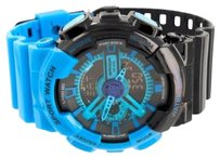 Blue Black Shock Water Resistant Gloss Digital Watch Resin Band Round Boys Mens