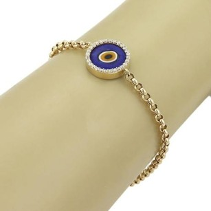 Other Blue Enamel Diamond Good Luck Eye 14k Yellow Gold Charm Bracelet