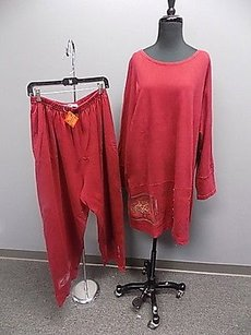 Blue Fish Crimson Red Cotton Casual Two Piece Knit Top And Pant Set 414a