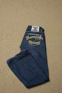 People For Peace Blue Cotton Boot Cut Jeans