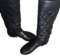 Stuart Weitzman Quilted Knee High Riding Leather Black Boots