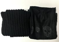 Other Boutique Black Set Of Fashion Skull Scarf And Knit Winter Scarf Sma1085