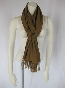 Boutique Brown Taupe Fringed Scarf Wrap Shawl Accessory Osfm Hs