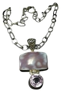 Boutique Sterling Silver Purple Stone Rectangular Pendant Necklace B3379