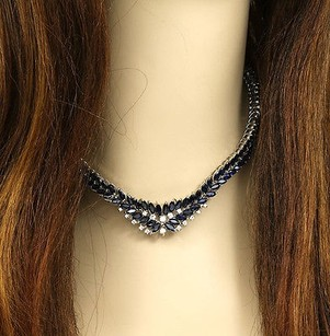 Breathtaking 18k White Gold 1 Ct Diamonds Carats Sapphires Dress Necklace