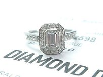 Fine Emerald Cut Diamond White Gold Engagement Ring 1.11ct Gia G-if