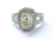 18kt Oval Fancy Yellow Diamond White Gold Engagement Ring 4.00ct