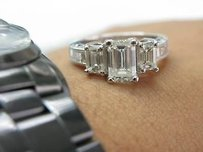 Fine 18kt Emerald Cut 3-stone Engagement Diamond Ring