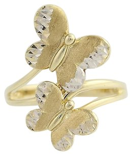 Other Butterfly Bypass Ring - 10k Yellow White Gold Textured Womens 12