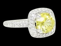 Calvins 18k White Gold Apx 2.25 Carats Tcw Diamond Yellow Sapphire Ring R497