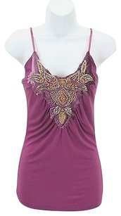 Other Cover Charge Silver Gold Beaded Sequins Velvet B251 Top Purple