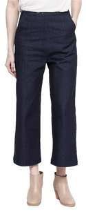 Other Markoo Tonya Navy Blue Raw Stretch Denim High Waisted Wide Leg Crop Pant Capri/Cropped Denim