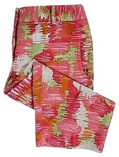 Lara Lane Petites Pink Green Capri/Cropped Pants Multi-Color
