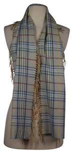 Other Cashmink V Fraas Womens One Blue Tan Red Plaid Scarf Acrylic