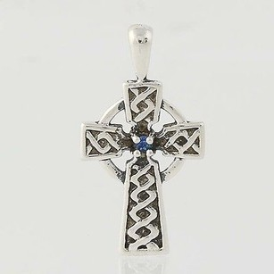 Other Celtic Cross Pendant - Sterling Silver Synthetic Sapphire Accent Faith Gift