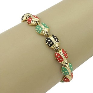 Estate 18k Yellow Gold Italian Multi Colored Ladybug Link Bracelet