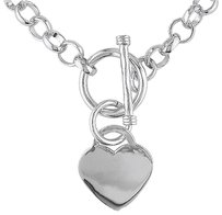 Sterling Silver 18 Necklace W Toggle Clasp Love Heart Charm