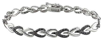 Other Sterling Silver Black Diamond Link Heart Love Two-tone Bracelet 1 Ct Ct 7