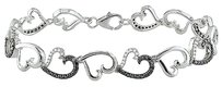 Silver White Black Diamond Link Heart Love Two-tone Bracelet 1 Ct 7.25