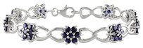 Sterling Silver Created Sapphire Flower Nature Bracelet 7.5 5.67 Ct
