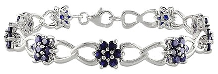 Other Sterling Silver Created Sapphire Flower Nature Bracelet 7.5 5.67 Ct