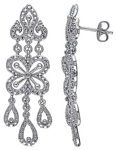 Sterling Silver Diamond Ear Pin Chandeleir Dangle Earrings W 3k Ear Posts