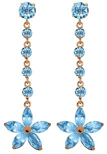 4.8 CT 14K Yellow Gold Stardrop Natural Blue Topaz Gemstone Chandelier Earrings