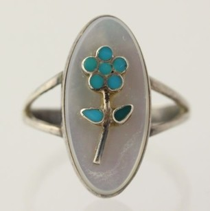 Charlotte Bradley Zuni Turquoise Mother Of Pearl Ring - 925 Sterling Silver
